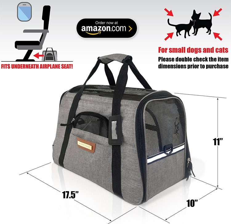 The Pawfect Pets TSA Approved Pet Travel Carrier for Small Dogs and Cats