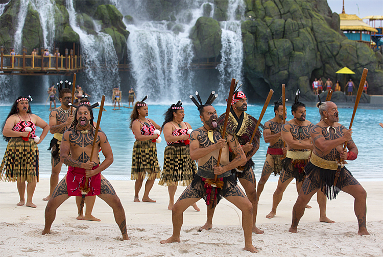 Haka War Dancers at Universal Resorts Volcano Bay