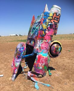 Visiting Cadillac Ranch in Amarillo, Texas