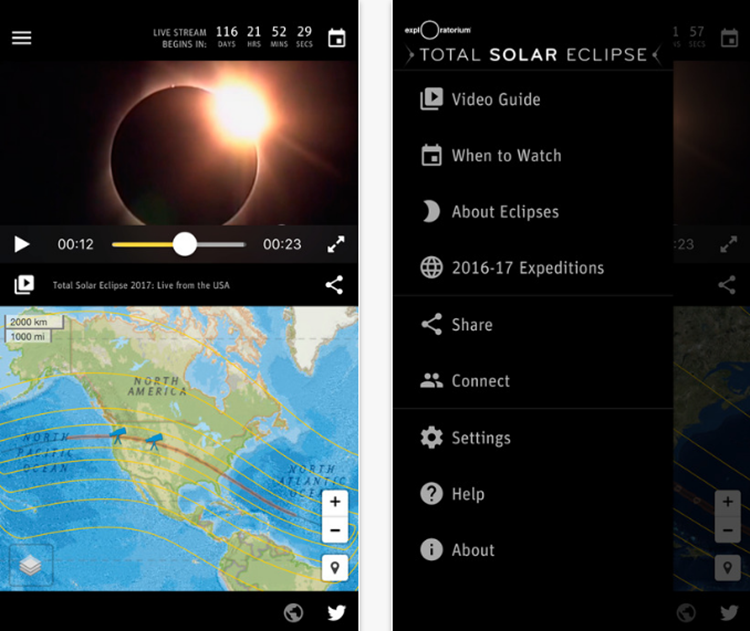 This app allows you to view five simultaneous video streams: 1) Live coverage hosted by Exploratorium educators and NASA scientists, 2) live coverage in Spanish hosted by Exploratorium educators, 3) a non-narrated, 3-hour live telescope view of the full eclipse as seen from Oregon, 4) a non-narrated, 3-hour live telescope view of the full eclipse as seen from Wyoming, and 5) a live telescope view with live musical sonification and accompaniment by the Kronos Quartet.